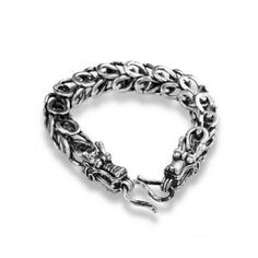 925 Silver Plated Bracelet Fashion Jewelry Chain Bracelets Cuff Bangle Mens Antique Bali Black Dragon