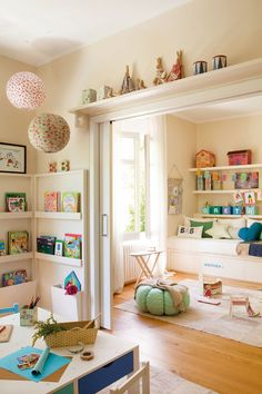 Bedroom for girls | Ideas for Home Garden Bedroom Kitchen - HomeIdeasMag.com I so wish I could cut a hole in the wall between the two end bedrooms and make into a bedroom/creative room.