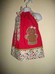Gingerbread Girl pillowcase dress Sizes 3 months to 6 years old. $28.00, via Etsy. Little Girl Dresses, Girls Dresses, Pillowcase Dresses, Girls Christmas Dresses, Dresses 2014, Diy Baby, Toddler Dress, Dress Ideas, 3 Months