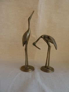Matching pair of retro mid-century brass cranes hollywood regency - small size by MollyWattVintage on Etsy
