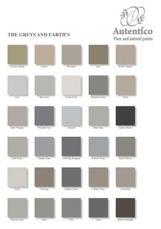 Greys And Earths Colour Chart From Autentico Get Your Chalk Paint Today For That Perfect
