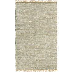 Hand-woven White Leather and Hemp Rug (9' x 12') | Overstock.com