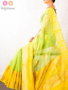 #Green #Handwoven #Linen #Silk #Kadhuan #Brocade #Saree #HolyWeaves