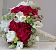 Bridal bouquet with red and white Hydrangea flowers