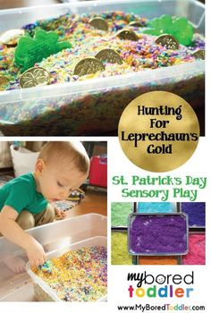 leprechaun sensory play st patricks day activity for toddlers. This fun St Patricks' Day toddler activity is so much fun. Lots of sensory play while they hunt through rainbow rice to find the treasure!