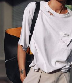street outfit of inspire _ white t-shirt & pants - DIMANCHE Celine, Topshop, Womens Fashion Online, Latest Fashion For Women, Petra, Trendy Swimwear, Street Outfit, Madame, Ideias Fashion
