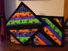 2 Scrappy Quilted Halloween Pot Holders on Etsy, $10.00