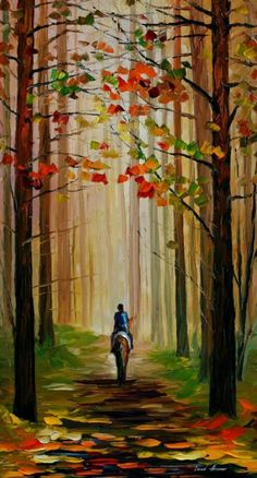 Stroll On The Horse - Painting by Leonid Afremov