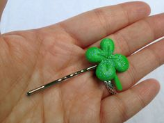 Green Glow-in-the-dark Polymer Clay Four Leaf Clover Bobby Pin on Etsy, $5.00