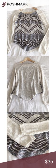 """Free People lightweight sweater Price dropped  Free People lightweight sweater dolphin hem sweater! Super cute! Cream/ivory/white and multi colored in grays front. Length 21-24"""" shoulder to shoulder 18"""" It has a stain on sleeve. (PRICE REFLECTED) Overall good preloved condition! Size Small Free People Sweaters Crew & Scoop Necks"""