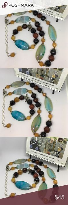 Authentic Gemstones Swarovski One of a Kind Set Hi! Ladies I'm getting ready to clean my handcrafted jewelry! One of a Kind pieces. This necklace can go as long or as short as you want. Has Real Gemstones, Swarovski, 925 Sterling, & Plated. Handmade Jewelry Necklaces