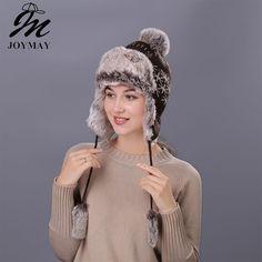94bb7028f71 Joymay Winter Hat Bomber Hats For Men Women Thicken Balaclava Cotton Fur  Winter Earflap Keep Warm Caps Russian Skull Mask