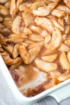 How to make the most delicious baked cinnamon apples. Easy dessert recipe with apple slices, brown sugar, nutmeg, and a special secret ingredient. Apple Recipes Easy, Apple Dessert Recipes, Fruit Recipes, Pumpkin Recipes, Thm Recipes, Baked Cinnamon Apples, Cinnamon Recipes, Cooked Apples, Sweets
