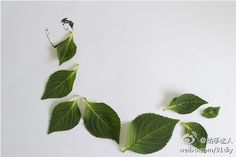 Simply Creative: Fashion in Leaves by Tang Chiew Ling Flower Fashion, Fashion Art, Fashion Models, Fashion Design, Pop Art Bilder, Freelance Graphic Design, Leaf Art, Creative Kids, Autumn Leaves