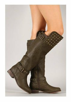 Military Green Studded Buckle Riding Knee High Boot Womens #kneehighboots #sexyboots #funky #greenboots #military #boots #womens #4everfunky www.4everfunky.com