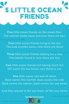 A fun counting song for the summer season or an under-the-sea/ocean unit! All About Me Preschool, Preschool Songs, Preschool Learning, Kids Poems, Children Songs, Beach Songs, Nursery Rhymes Lyrics, Oceans Song, Circle Time Songs
