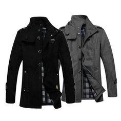 Sale 26% (53.09$) - Winter Mens Long Coat Fashion Casual Woolen Slim Windbreaker