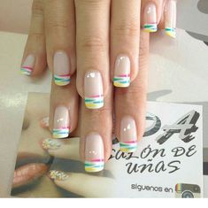 Sweet colorful tips Cute Spring Nails, Spring Nail Art, Cute Nails, Pretty Nails, Cute Nail Designs, Acrylic Nail Designs, Acrylic Nails, Hair And Nails, My Nails