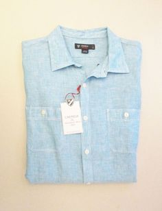 Details about Murano Linen Fitted Men's Shirt Powder Blue Short ...