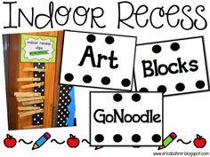Indoor recess clips: keep kids organized at indoor recess.  Free Download.