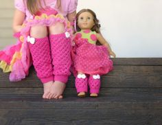 Girly leg warmers free crochet pattern, and a matching doll leg warmer pattern too!