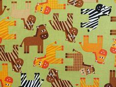 Robert Kaufman Urban Zoologie Zebras, grün von marlinda's stoffhäuschen auf DaWanda.com