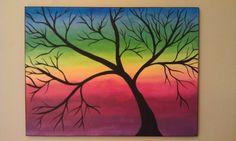 Abstract Acrylic Art Painting Rainbow Tree by KJArtStudio on Etsy, $125.00