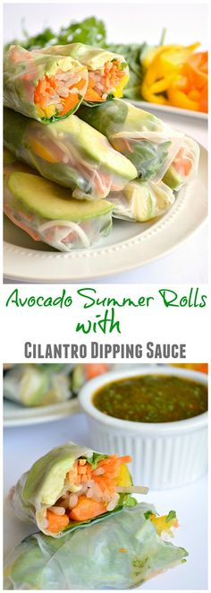 Vegetarian Avocado Summer Rolls with Sweet 'N Spicy Cilantro Dipping Sauce - House of Yumm