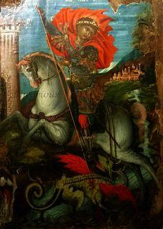 St George on horseback slaying the dragon, Georgios Klontzas, (16th century)