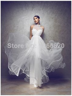 New Arrival Free Shipping Vestidos Summer Sexy beading halter Backless Lace Long A-line chiffon Wedding Bridal Dresses 2014 $159.00