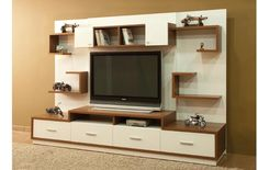 Interessante tv-meubelmodellen met plankontwerp - architecture et décoration Tv Cabinet Design, Tv Wall Design, Shelf Design, Living Room Tv Unit Designs, Bedroom Cupboard Designs, Tv Unit Interior Design, Wall Unit Decor, Tv Wanddekor, Tv Unit Furniture