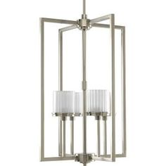 Progress Lighting, Encore Collection 4-Light Brushed Nickel Foyer Pendant, P3915-09WB at The Home Depot - Mobile