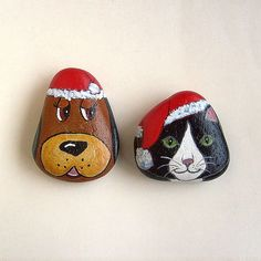 Santa pets painted rocks set