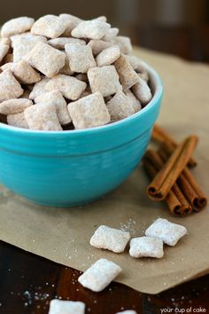 Snickerdoodle Puppy Chow   This is amazing stuff. Be sure to make extra to leave at home.
