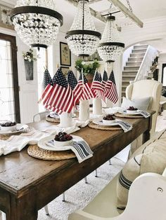 50 Unique Farmhouse Fourth July Decor Ideas That Inspire You. The interior design of your home plays a big part in how you feel when you are in your home. This is because the interior design of a room. Fourth Of July Decor, 4th Of July Decorations, 4th Of July Party, Table Decorations, July 4th, Holiday Decorations, Seasonal Decor, Holiday Ideas, Buffet Design