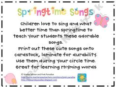Children love to sing and what better time than springtime to teach your students these adorable songs. Print out these cute songs onto cardstock. Fun Classroom Activities, Preschool Songs, Spring Activities, Kids Songs, Kindergarten Activities, Spring Songs For Kids, April Preschool, Classroom Freebies, Music Classroom