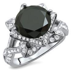 Noori 14k Gold 3 1/10ct Certified Round Black Diamond Lotus Ring