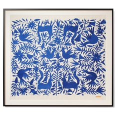 Don't miss out on this limited edition piece! Blue Tenango - Sublime in a black frame hand embroidered by indigenous Otomí people in Central Mexico.