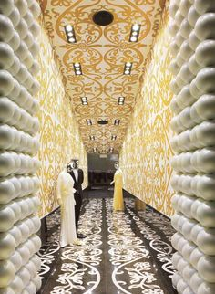 Striking patterns from Floor to Ceiling in the Villa Moda Luxury Boutique. Designed by Marcel Wanders.