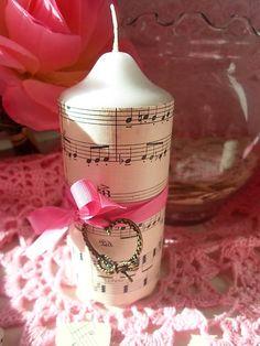 little_birdie / vintage sviečka so srdiečkom