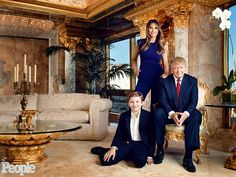 Donald, Melania, & Barron Trump - Donald Trump's penthouse triplex in N.Y.C.'s Trump Tower is both shocking & exactly what you'd expect: gold walls, marble floors, ornate columns, Versailles-style furniture, enormous crystal chandeliers, frescoes on the ceiling and panoramic views of Manhattan & well beyond. But the Republican presidential hopeful insists that if he were to eventually make it to the White House, he wouldn't impart his signature gold palette on the West Wing.