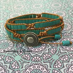Four-wrap turquoise tila beads with copper leather by CrosslakeArtisans on Etsy