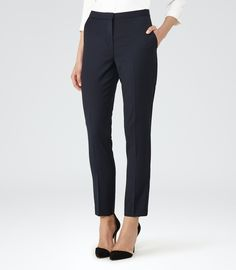 Womens Navy Textured Tailored Trousers - Reiss Indi Trouser