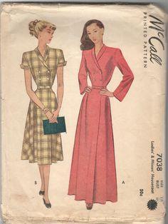 1940s McCall 5537 Misses V Neck Dress Pattern sz 16 bust 34
