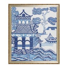 Willow Landscape Series – The Kellogg Collection Chinoiserie Wallpaper, Chinoiserie Chic, Elephant Wallpaper, Blue Willow China, Wilson Art, Willow Pattern, Dragon Design, Art Pages, Chinese Art