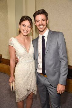 Melissa Benoist (Supergirl) and Grant Gustin (Flash)