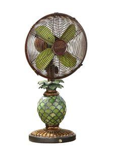 "Kinard Pinapple Tiffany 10"" Oscillating Table Fan Green Kitchen Decor, Sunflower Kitchen Decor, Colorful Kitchen Decor, French Kitchen Decor, Rustic Kitchen Decor, Kitchen Cabinets Decor, Fan Lamp, Mason Jar Kitchen, Mason Jars"
