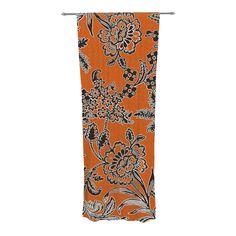 "Vikki Salmela ""Blossom"" Orange Black Decorative Sheer Curtains from KESS InHouse #new #orange #black #modern #garden #floral #art on #sheer #curtains for #home #decor #apartment #bedroom #living #room by #vikkisalmela"