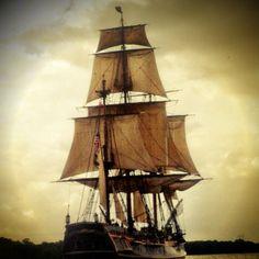 The Bounty tall ship sailing out of Savannah