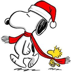 cross stitch chart of snoopy and woodstock at christmas sharing the scarf - Christmas Snoopy